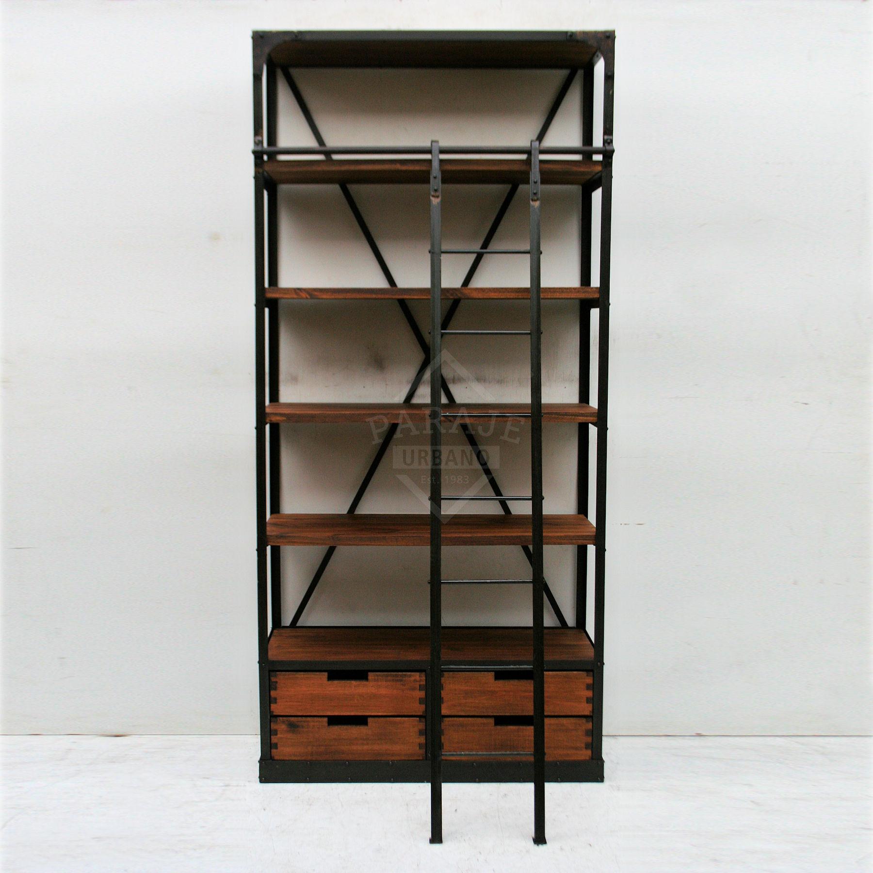 Estanteria de hierro y madera con escalera y 4 cajones for Estanteria de escalera