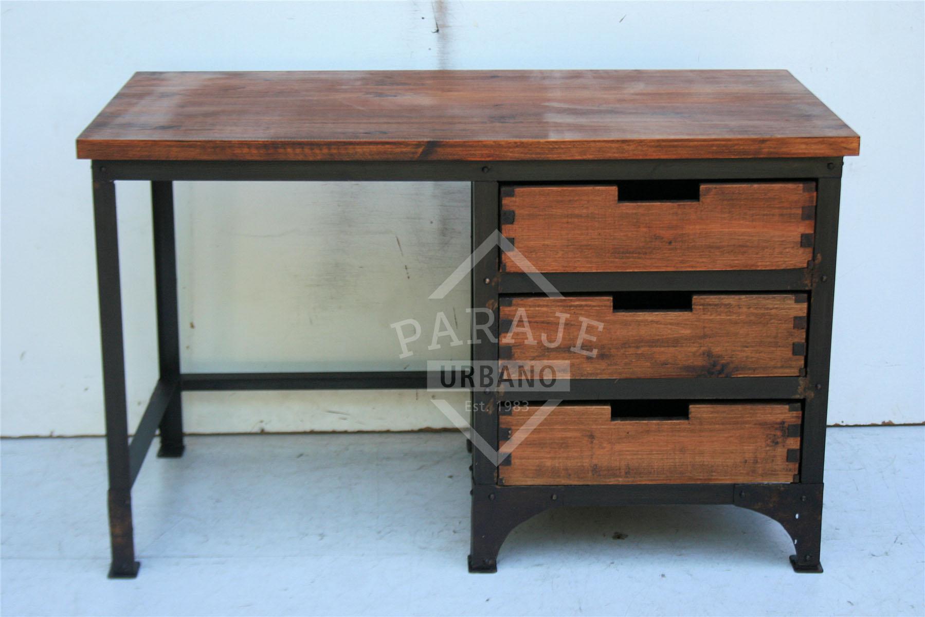 Paraje urbano escritorio hierro y madera con cajones 120cm - Escritorios rusticos de madera ...